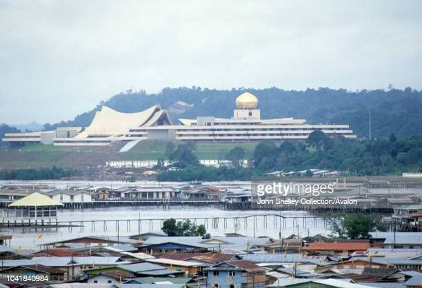 Brunei celebrates gaining independence from the United Kingdom, View of the newly built Istana Nurul Iman, the Sultan of Brunei's Palace, 1984.