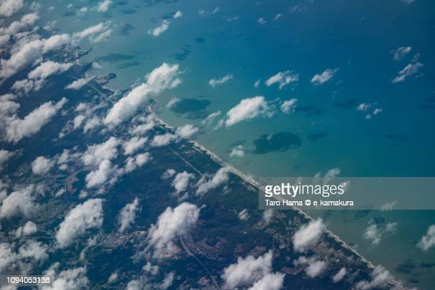 Brunei Darussalam and South China Sea daytime aerial view from airplane