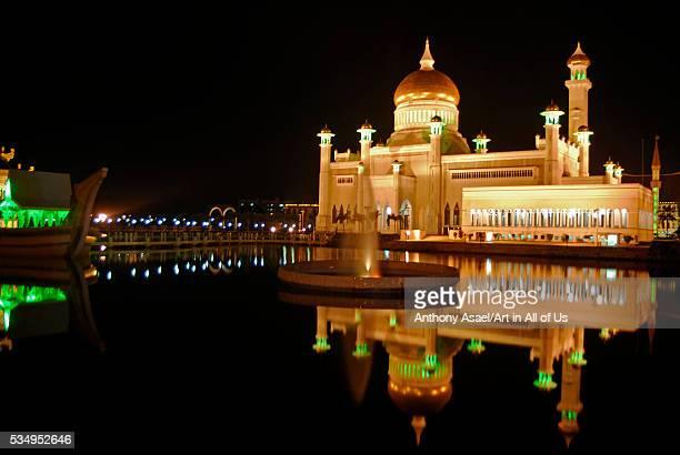Brunei Darussalam Bandar Seri Begawan nightview of reflection of illuminated mosque in lake at night