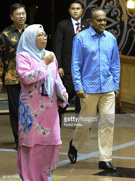 BEGAWAN Brunei Singaporean Foreign Minister K Shanmugam enters a venue for a dinner banquet for foreign ministers of the Association of Southeast...