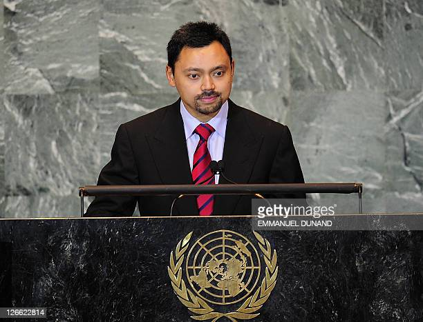 Brunei's Prince Haji AlMuhtadee Billah addresses the 66th UN General Assembly at the United Nations headquarters in New York September 26 2011 AFP...
