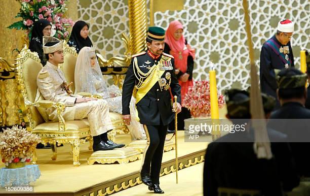 Brunei's Sultan Haji Hassanal Bolkiah returns after blessing to the royal couple Princess Hajah Hafizah Sururul Bolkiah and her groom Pengiran Haji...