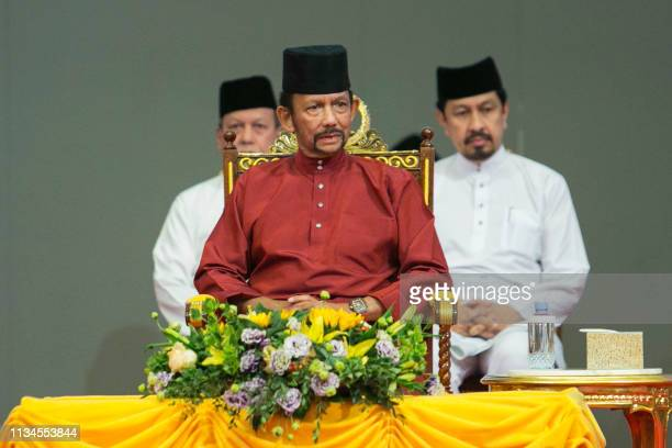 Brunei's Sultan Hassanal Bolkiah attends an event in Bandar Seri Begawan on April 3 2019 Brunei's sultan called for Islamic teachings in the country...