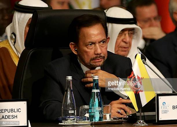 Brunei's sultan Hassanal Bolkiah attends the 13th Organization of Islamic Cooperation Summit at Istanbul Congress Center in Istanbul Turkey on April...