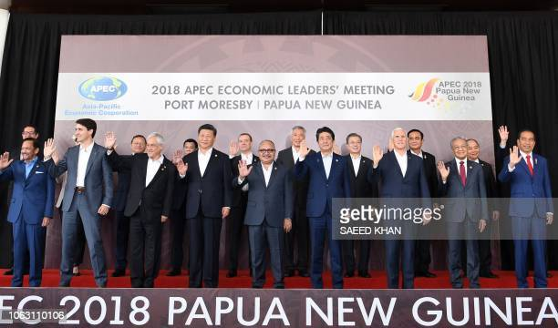 Brunei's Sultan Hassanal Bolkiah Canada's Prime Minister Justin Trudeau Chile's President Sebastian Pinera China's President Xi Jinping Papua New...