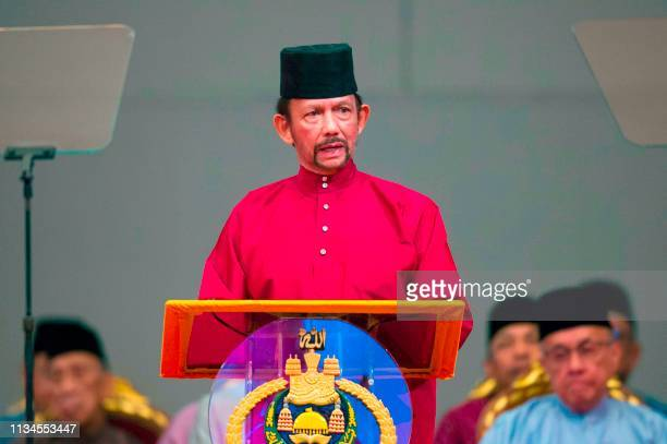 Brunei's Sultan Hassanal Bolkiah delivers a speech during an event in Bandar Seri Begawan on April 3 2019 Brunei's sultan called for stronger Islamic...