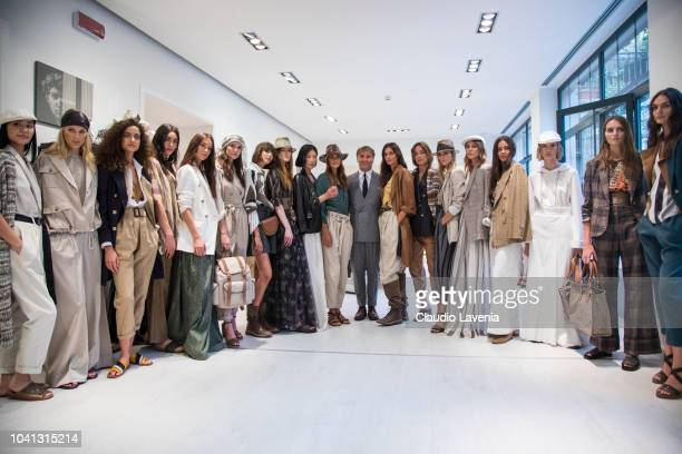 Brunello Cucinelli and models are seen at the Brunello Cucinelli presentation during Milan Fashion Week Spring/Summer 2019 on September 19 2018 in...