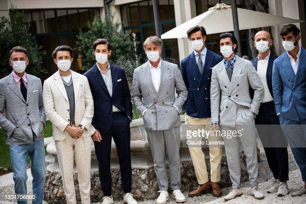 Brunello Cucinelli and models attend the Brunello Cucinelli SS22 Menswear Collection Presentation on June 19, 2021 in Milan, Italy.