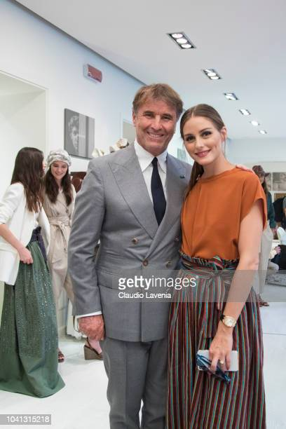 Brunello Cucinelli and Olivia Palermo are seen at the Brunello Cucinelli presentation during Milan Fashion Week Spring/Summer 2019 on September 19...