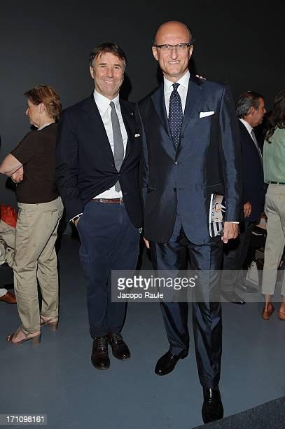 Brunello Cucinelli and Paolo Zegna attend Ermenegildo Zegna show during  Milan Menswear Fashion Week Spring Summer fb32da7249d