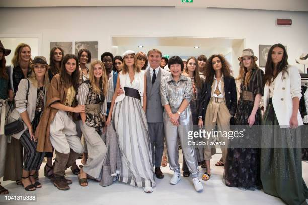 Brunello Cucinelli Angelica Cheung and models are seen at the Brunello Cucinelli presentation during Milan Fashion Week Spring/Summer 2019 on...