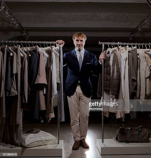 Brunello Cucinelli chairman and chief executive officer of Brunello Cucinelli SpA poses for a photograph inside the company's showrooms in New York...