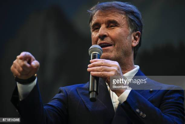 Brunello Cucinelli chief executive officer of Brunello Cucinelli SpA speaks during the Dreamforce Conference in San Francisco California US on...
