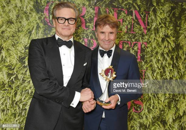 Brunello Cucinelli winner of the Community Social Justice award poses with presenter Colin Firth backstage at The Green Carpet Fashion Awards Italia...