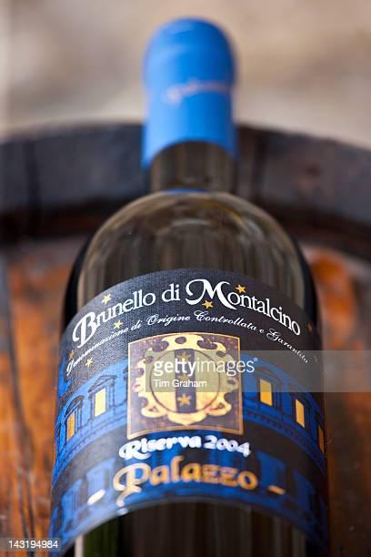Brunello di Montalcino 2004 Riserva bottle of red wine at wine estate of Palazzo near Montalcino in Val D'Orcia Tuscany Italy