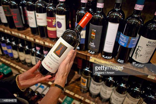 Brunello wines for sale in wine bar in fortress.