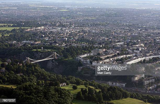 Brunel's Clifton Suspension Bridge seen linking parts of the City of Bristol taken from a hot air balloon during the early morning mass ascent at the...