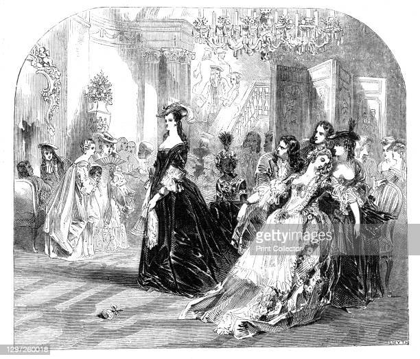 Brunetta and Phillis, a scene from The Spectator, painted by John Gilbert, 1844. 'The fair Phillis, dressed in the rich brocade, awaits with...
