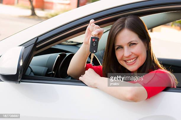 Brunette just bought a new car