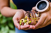 Brunette model hand holding glass hermetic pot with mix of nuts