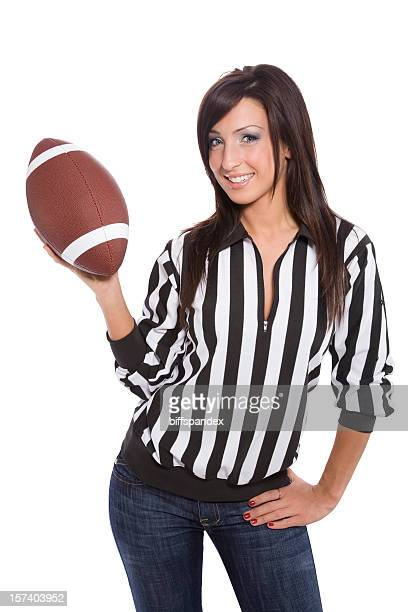brunette referee with football - female umpire stockfoto's en -beelden