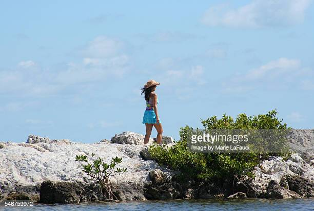 brunette woman with hat walking on jetty - ice cube entertainer stock pictures, royalty-free photos & images