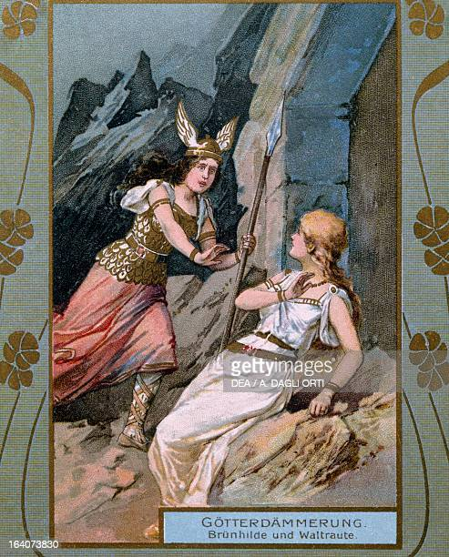 Brunhilda and Waltrante characters from The Twilight of the Gods from The Ring of the Nibelung cycle by Richard Wagner Print early 20th century...