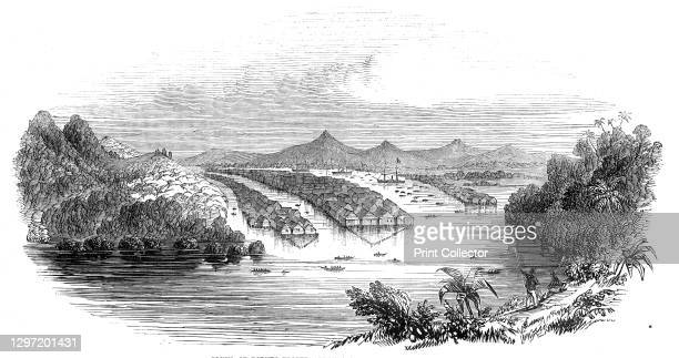 Bruni, or Borneo Proper - from a sketch by a correspondent, 1845. '...Borneo, the capital of the kingdom of Borneo Proper, or Brunai, lying on the...