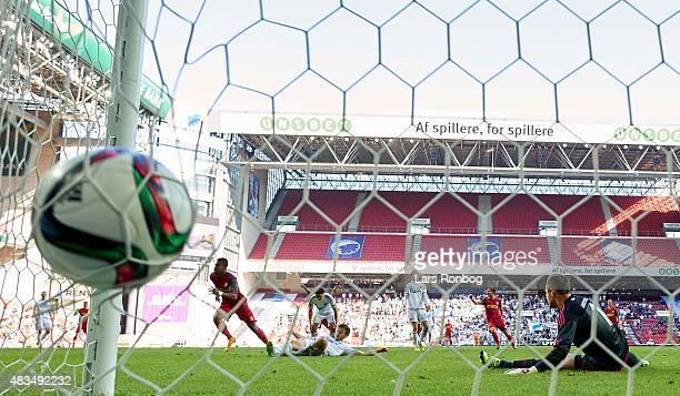 Bruninho of FC Nordsjalland scores the 11 goal against Goalkeeper Stephan Andersen of FC Copenhagen during the Danish Alka Superliga match between FC...