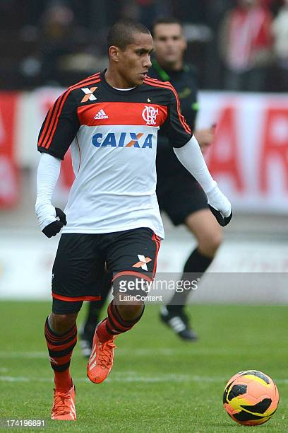 Bruninho of Flamengo runs for the ball during a match between Flamengo and Internacional as part of the Brazilian Serie A championship at Centenario...