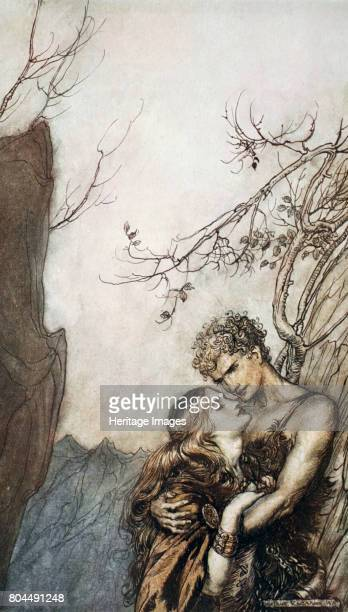 Brunnhilde throws herself into Siegfried's arms' 1924 Illustration from Siegfried and the Twilight of the Gods Brunnhilde sees Siegfried and also...