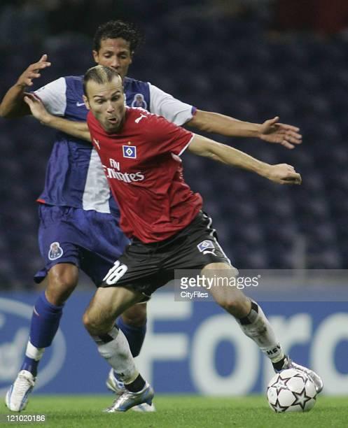 Bruno Alves and Ljuboja during the Champions league Group G matcj between FC Porto and SV Hamburg