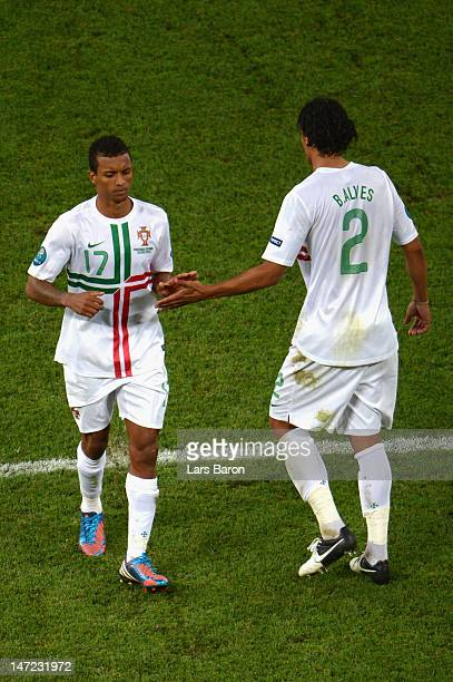 Bruno Alves and Nani of Portugal during the penalty shoot out during the UEFA EURO 2012 semi final match between Portugal and Spain at Donbass Arena...
