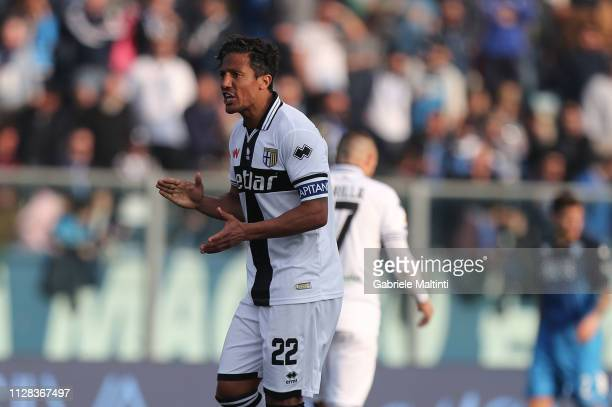 Bruno Alves of Parma Calcio celebrates after scoring a goal during the Serie A match between Empoli and Parma Calcio at Stadio Carlo Castellani on...