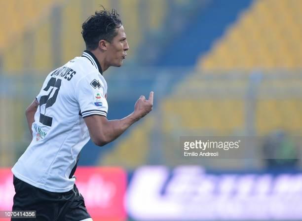 Bruno Alves of Parma Calcio celebrates his goal during the Serie A match between Parma Calcio and Chievo Verona at Stadio Ennio Tardini on December 9...