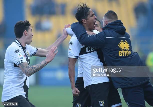 Bruno Alves of Parma Calcio celebrates his goal with his teammate Amato Ciciretti during the Serie A match between Parma Calcio and Chievo Verona at...