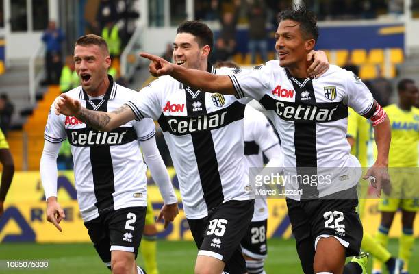 Bruno Alves of Parma Calcio celebrates his goal with his teammates Alessandro Bastoni and Simone Iacoponi during the Serie A match between Parma...