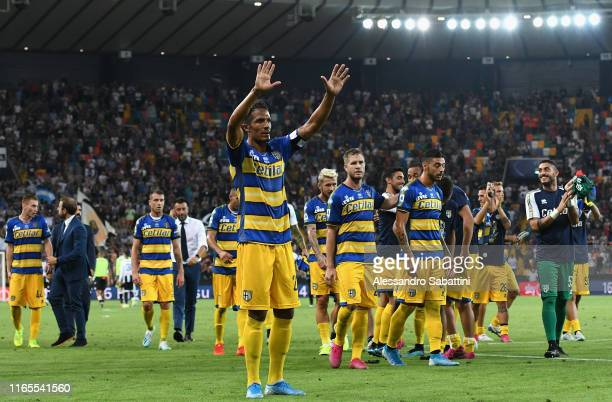 Bruno Alves of Parma Calcio celebrates the victory after the Serie A match between Udinese Calcio and Parma Calcio at Stadio Friuli on September 1...
