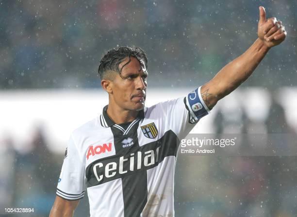 Bruno Alves of Parma Calcio gestures during the Serie A match between Atalanta BC and Parma Calcio at Stadio Atleti Azzurri d'Italia on October 27...