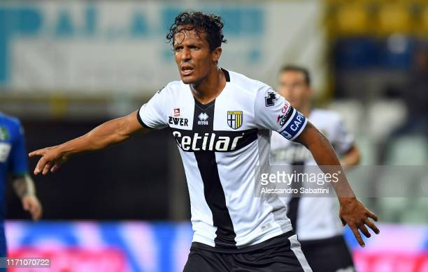 Bruno Alves of Parma Calcio gestures during the Serie A match between Parma Calcio and US Sassuolo at Stadio Ennio Tardini on September 25, 2019 in...