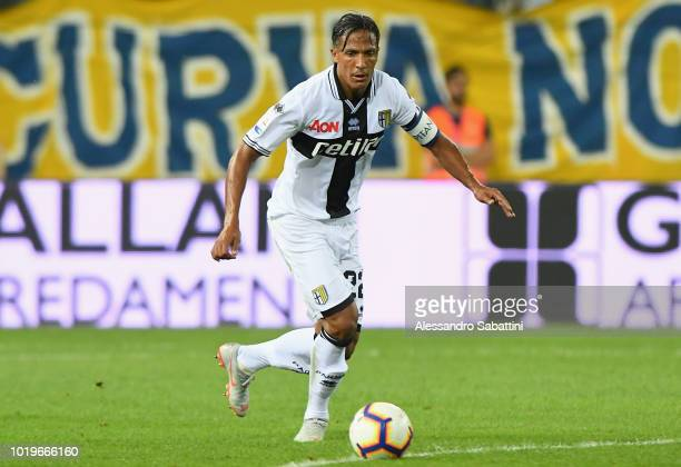 Bruno Alves of Parma Calcio in action during the serie A match between Parma Calcio and Udinese at Stadio Ennio Tardini on August 19 2018 in Parma...