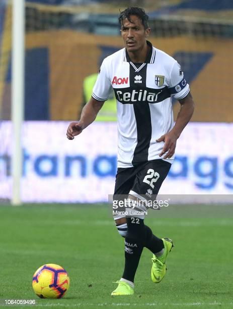 Bruno Alves of Parma Calcio in action during the Serie A match between Parma Calcio and Frosinone Calcioat Stadio Ennio Tardini on November 4 2018 in...