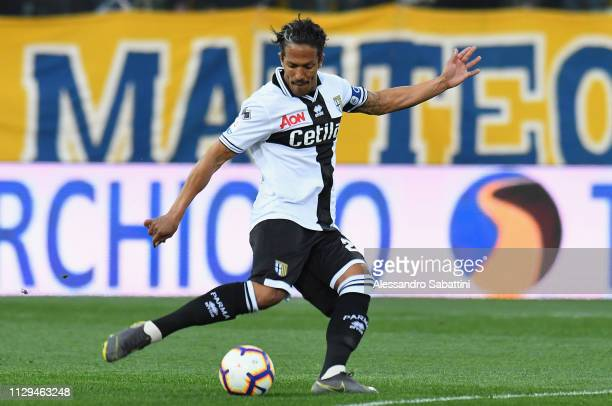Bruno Alves of Parma Calcio in action during the Serie A match between Parma Calcio and Genoa CFC at Stadio Ennio Tardini on March 10 2019 in Parma...