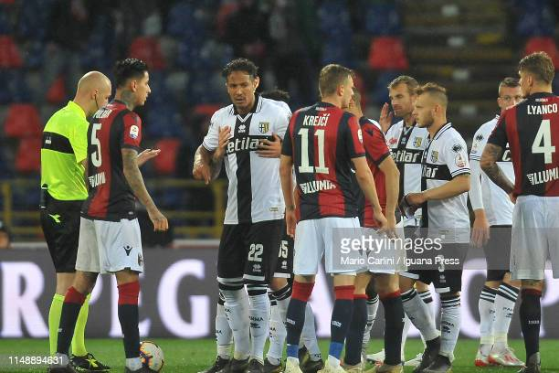 Bruno Alves of Parma Calcio is sent off for directing verbal abuses towards the referee during the Serie A match between Bologna FC and Parma Calcio...
