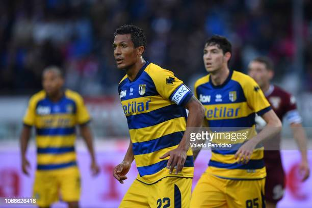Bruno Alves of Parma Calcio looks on during the Serie A match between Torino FC and Parma Calcio at Stadio Olimpico di Torino on November 10 2018 in...