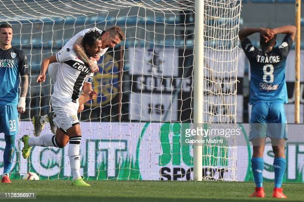 Bruno Alves of Parma FC celebrates after scoring a goal during the Serie A match between Empoli and Parma Calcio at Stadio Carlo Castellani on March...