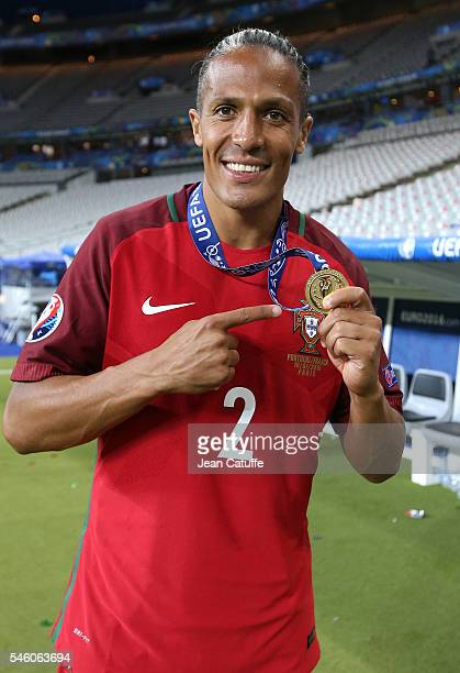 Bruno Alves of Portugal celebrates the victory following the UEFA Euro 2016 final match between Portugal and France at Stade de France on July 10...