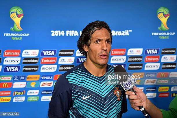 Bruno Alves of Portugal is interviewed after the 2014 FIFA World Cup Brazil Group G match between Portugal and Ghana at Estadio Nacional on June 26...