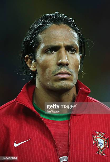 Bruno Alves of Portugal looks on ahead of the UEFA EURO 2012 group B match between Portugal and Netherlands at Metalist Stadium on June 17 2012 in...