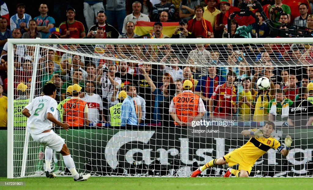 Bruno Alves of Portugal misses a penalty during the UEFA EURO 2012 semi final match between Portugal and Spain at Donbass Arena on June 27, 2012 in Donetsk, Ukraine.